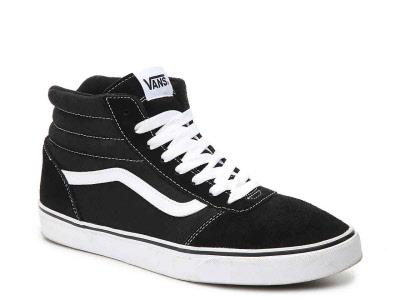 Vans. WARD HI. BLACK.-White. Sizes: 13